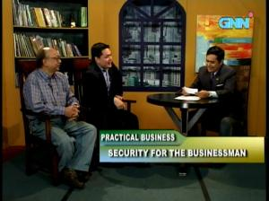 Gun ban woes: A2 S5 director Mike Melchor (left) tells Practical Business viewers to be more alert while AFAD director Dino Rodriguez (middle) reveals plans to cut labor costs. (Photo grab courtesy of GNN)