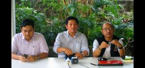 Speaking out: AFAD president Jethro Dionisio tells media that over-regulating legal gun owners may boomerang on authorities. He is flanked by A2 S5 directors Miguel Gil (l) and Mike Melchor (r). (Photo by Barry Y.)