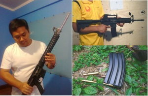 Stoner's legacy: (clockwise) Author inspects a piston-driven, AR-derived rifle manufactured by UDMC, A more straightforward  take on the M4 is the Firebird, made by Metro Arms, another Philippine firm. Most militay-style 5.56 rifles and carbines feed of the AR magazine. (Photo by Anthony James)