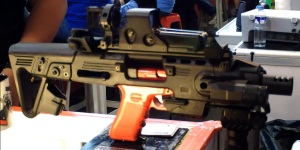 "Features galore: The RONI has a 5-position stock with an adjustable cheek rest for maximum shooter comfort. Its top rail is 9.25"" long, side rails are 2.5"" long and the lower rail is 2 1/8"" long. (Photo by IGG)"