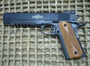 Long slide .45: 1911's with extended slide assemblies were all the rage during the 1970's. Armscor resurrects the concept in this 6-inch barreled version.