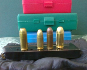 Raw power: The 10mm Auto (leftmost) is substantially more powerful than the older (left to right) 9mm Luger, .38 Super or .45 ACP. (Photo by MCG)