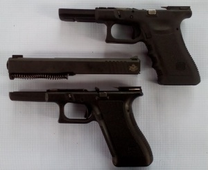 The .22 TCM 9R slide assembly will supposedly fit and function reliably in Generation 1-3 Glock frames. It should work equally well with the Gen 3 (upper) and Gen 2 Glock 17 frames seen here. (Photo by IGG)
