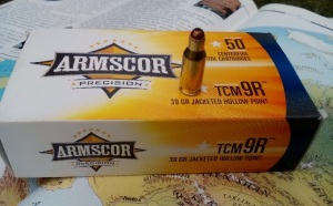 "Read the box before attempting to chamber your Armscor-Glock combo! Only the ones marked .22 TCM ""9R"" will work. (Photo by IGG)"