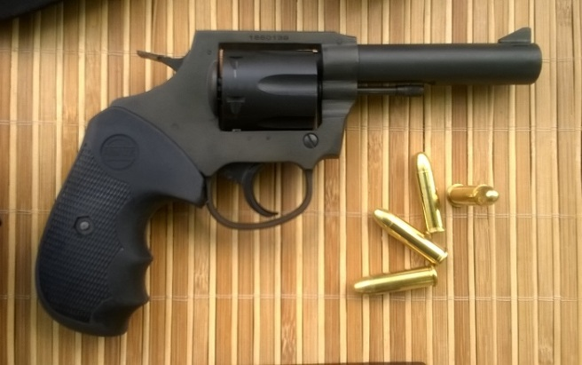 RIA M202: This is a simple yet sturdy double-action revolver chambered for the proven .38 Special cartridge. Its Parkerized finish is quite durable and gives it a professional look. (Photo by IGG)