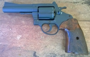 Squires Bingham M100: This durable revolver was issued to Filipino policemen during the 1970's to the 1980's--and was popular with civilians as well. It looks a little bit like the Colt Trooper.